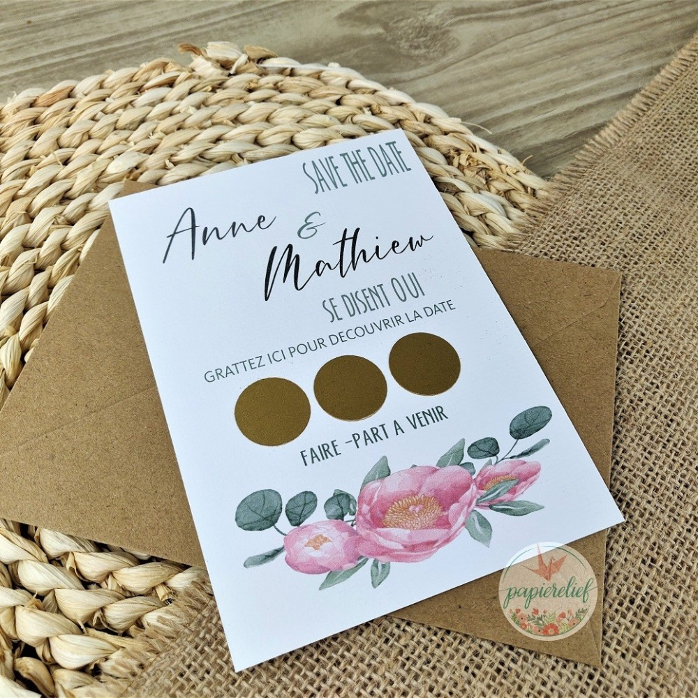 Save the date à gratter illustration fleurs en aquarelle