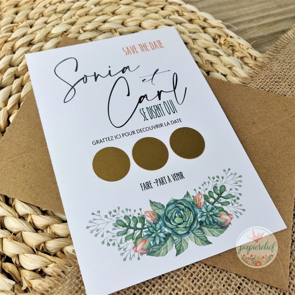 Save the date à gratter illustration fleurs en aquarelle succulentes