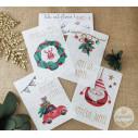 Lot de 4 Cartes à planter, Joyeux Noël, carte de voeux Noël en papier ensemencé