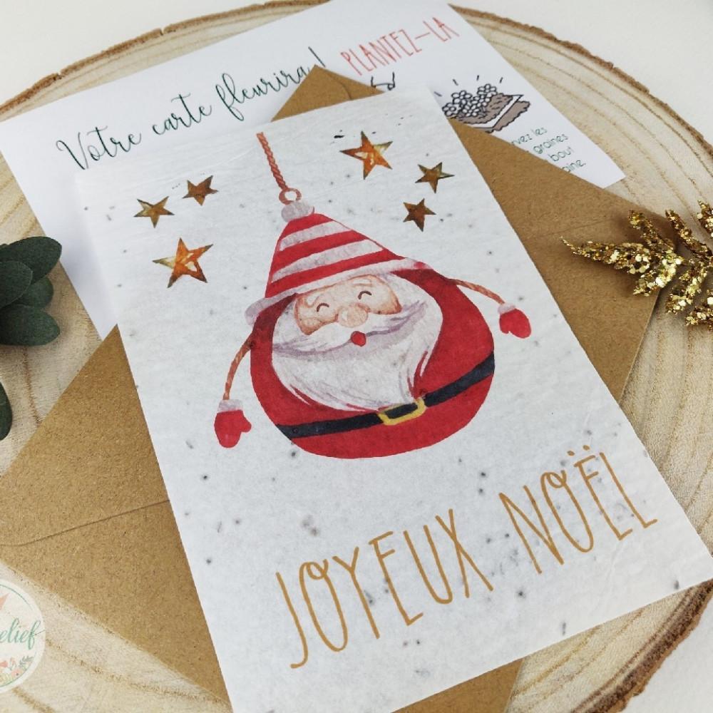 Cartes à planter, Joyeux Noël, carte de voeux entreprise papier ensemencé