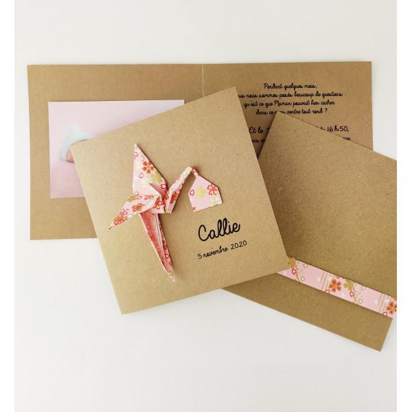 Faire part cigogne en origami - papier japonais rose