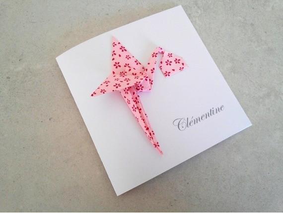 Faire part cigogne origami rose en papier japonais haut de gamme