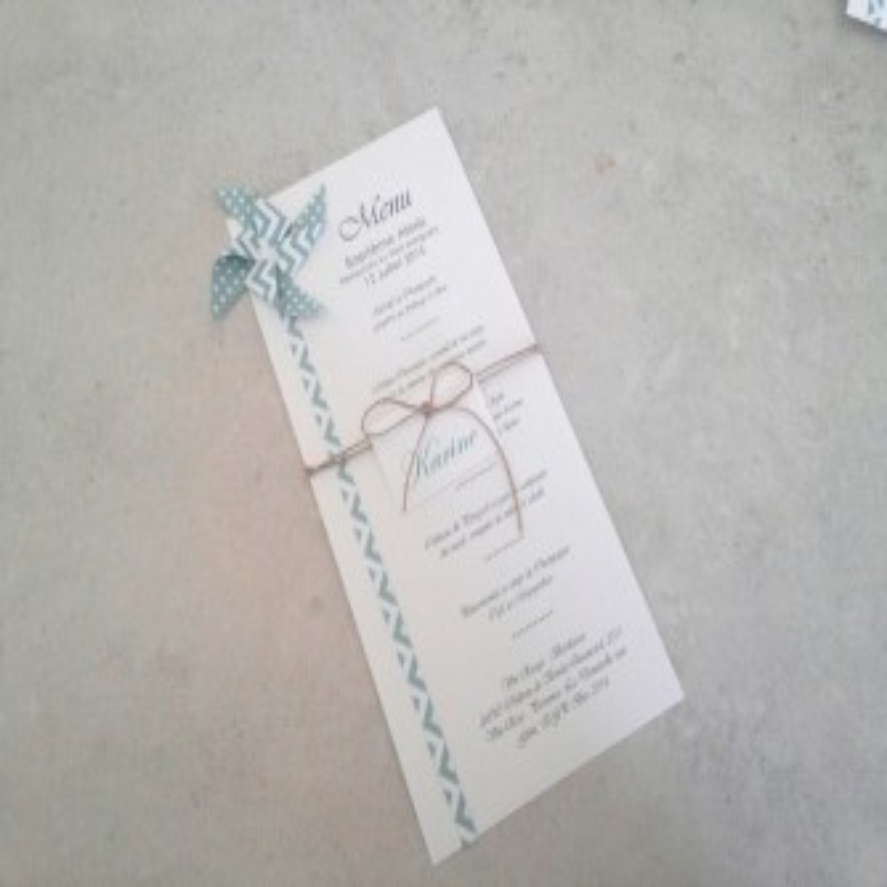 Faire part de mariage pochette en papier japonais - thème grues - tons bleu blanc