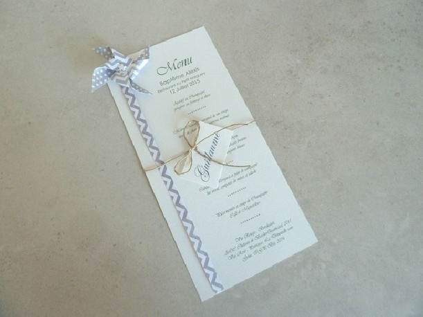 menu mariage ou bapteme moulin a vent gris fait main decoration table