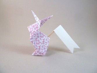 Marque place lapin en origami liberty lilas